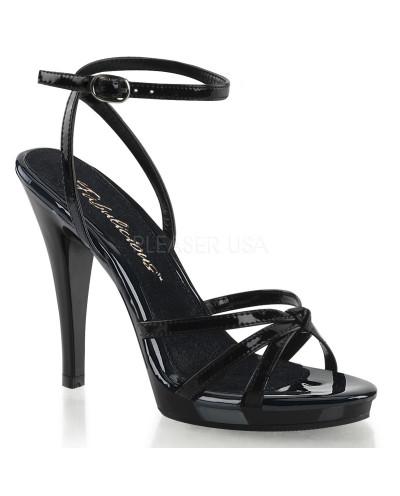 Fabulicious — Sandales à talons aiguilles et bride de cheville Flair-436 (noir verni)