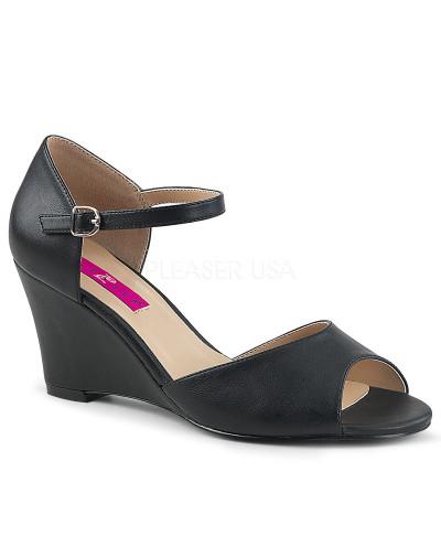 Pleaser — Sandales peep toes et compensées à bride Kimberly-05 (noir mat)