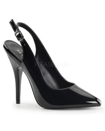 Pleaser — Sandales à bout pointu et bride arrière Seduce-317 (noir verni)