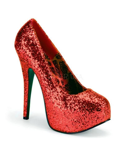 Pleaser — Escarpins coupe large à plateforme Teeze-06GW (sequins rouges)