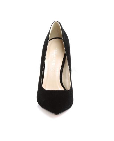 Pleaser — Escarpins à talons aiguilles et plateforme invisible Amuse-20 (velours noir)