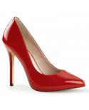 Pleaser — Escarpins à talons aiguilles et plateforme invisible Amuse-20 (rouge verni)
