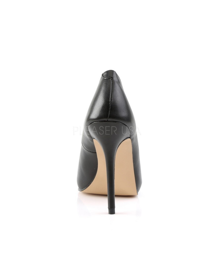 Pleaser — Escarpins à talons aiguilles et plateforme invisible Amuse-20 (noir mat)