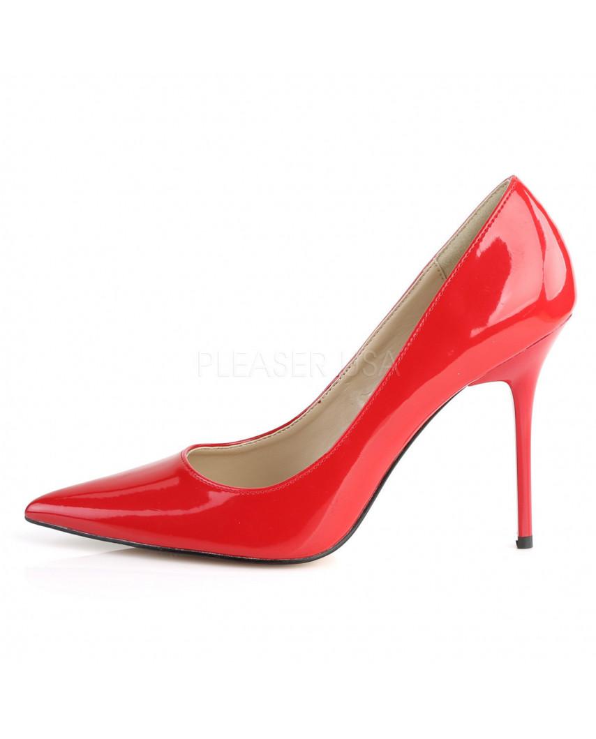 Pleaser — Escarpins classiques à bout pointu Classique-20 (rouge verni)
