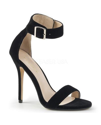 Sandales à talons aiguilles à large bride bouclée Amuse-10 (velours noir)