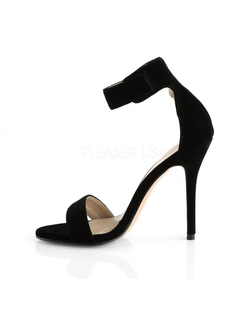 Pleaser — Sandales à talons aiguilles à large bride bouclée Amuse-10 (velours noir)