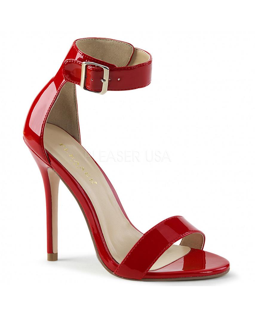 Pleaser — Sandales à talons aiguilles à large bride bouclée Amuse-10 (rouge verni)