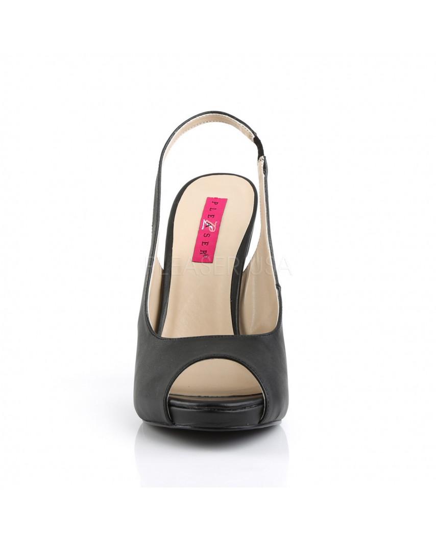 Pleaser — Sandales à bride arrière et talons aiguilles Eve-04 (noir mat)