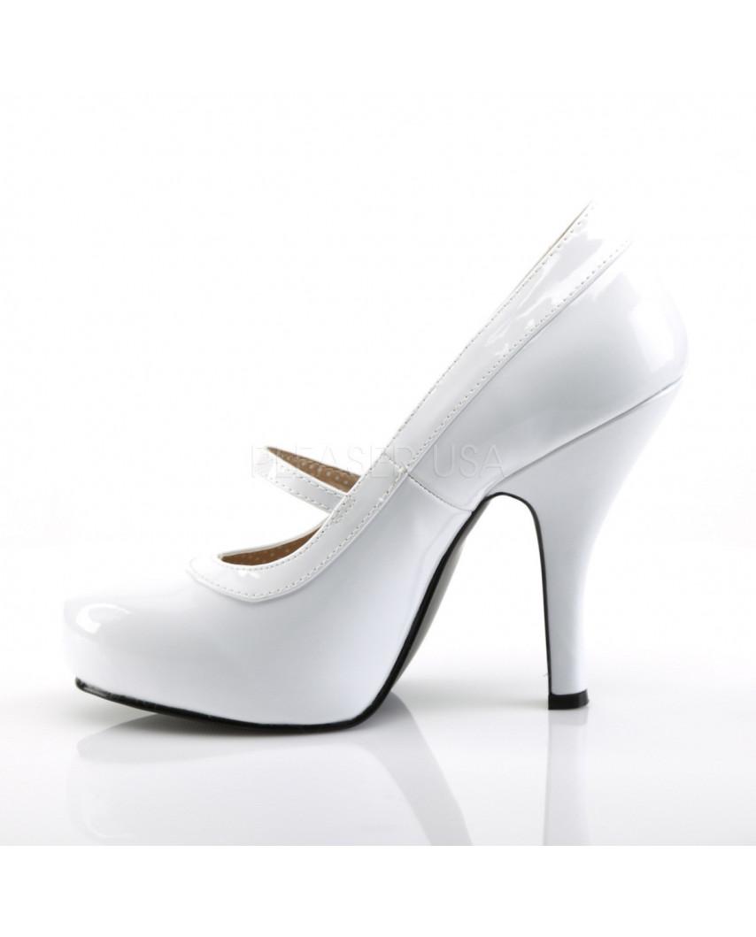 Pleaser — Escarpins Mary Jane à bride Pinup-01 (blanc verni)
