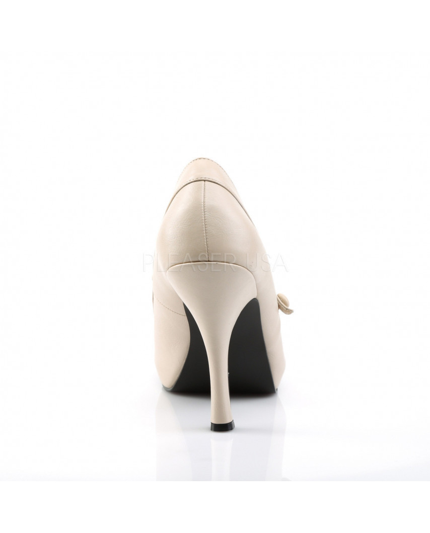Pleaser — Escarpins Mary Jane à bride Pinup-01 (crème mat)