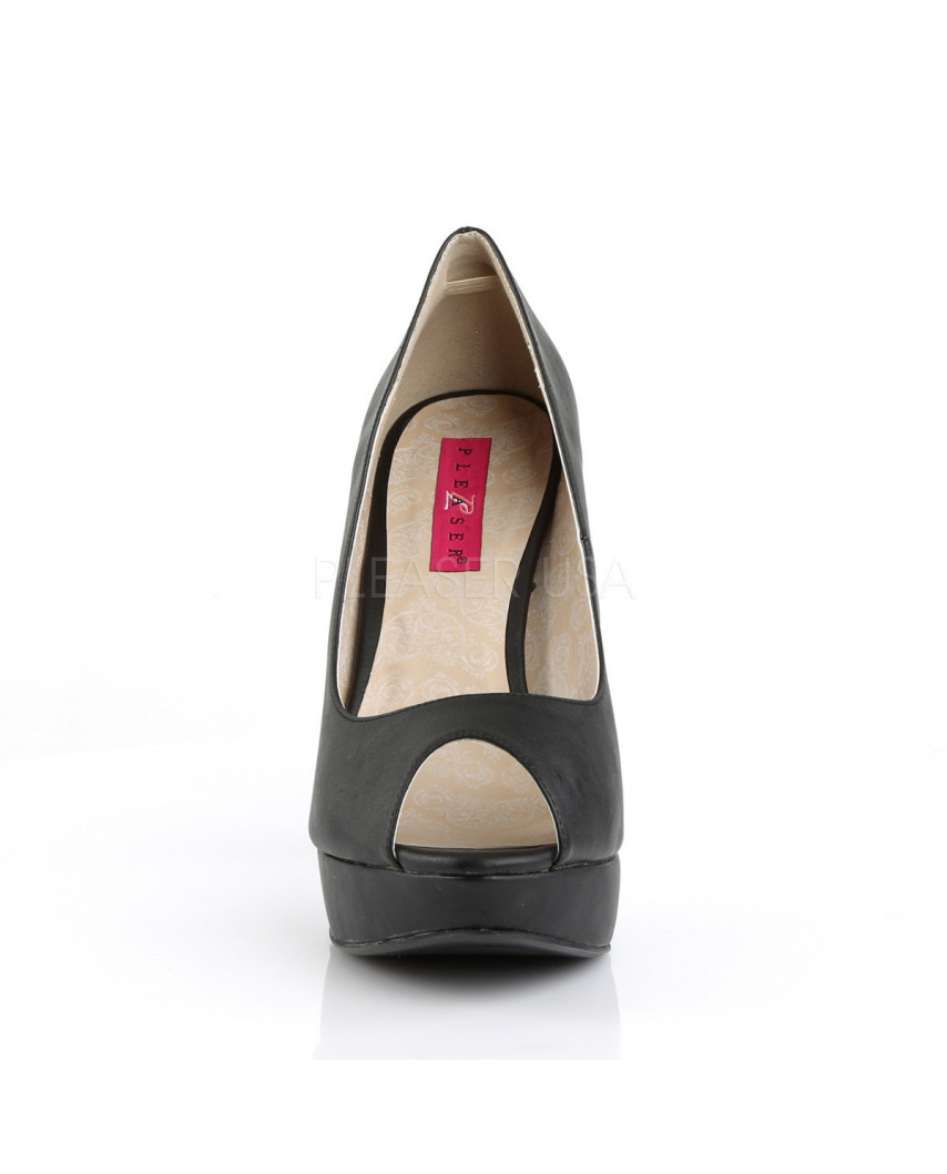 Pleaser — Escarpins peep toes à plateforme et talons aiguilles Chloe-01 (noir mat)