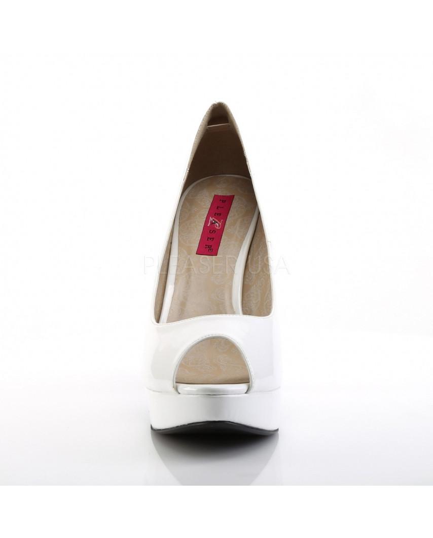 Pleaser — Escarpins peep toes à plateforme et talons aiguilles Chloe-01 (blanc verni)