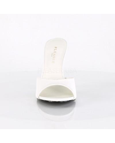 Pleaser — Mules à talons aiguilles Classique-01 (blanc mat)
