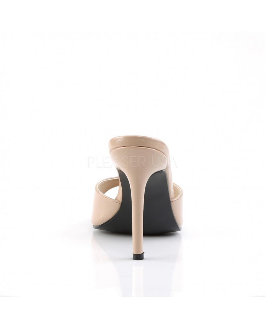 Pleaser — Mules à talons aiguilles Classique-01 (chair verni)