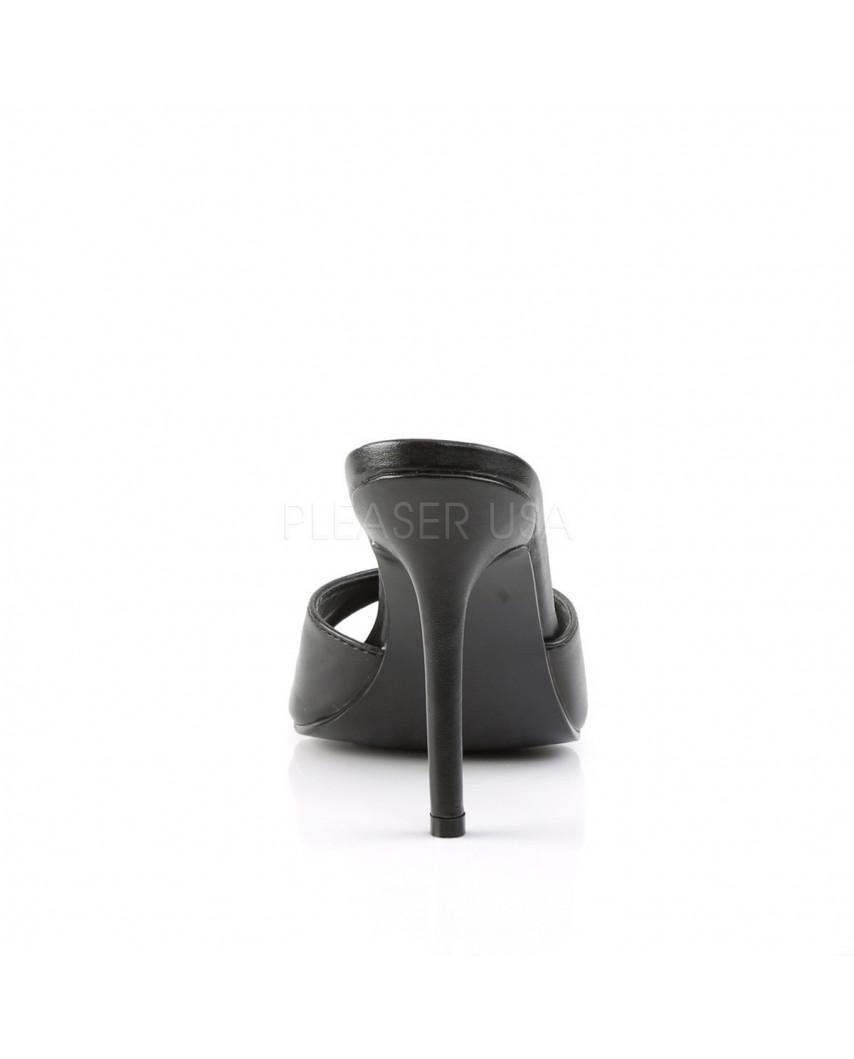Pleaser — Mules à talons aiguilles Classique-01 (noir mat)