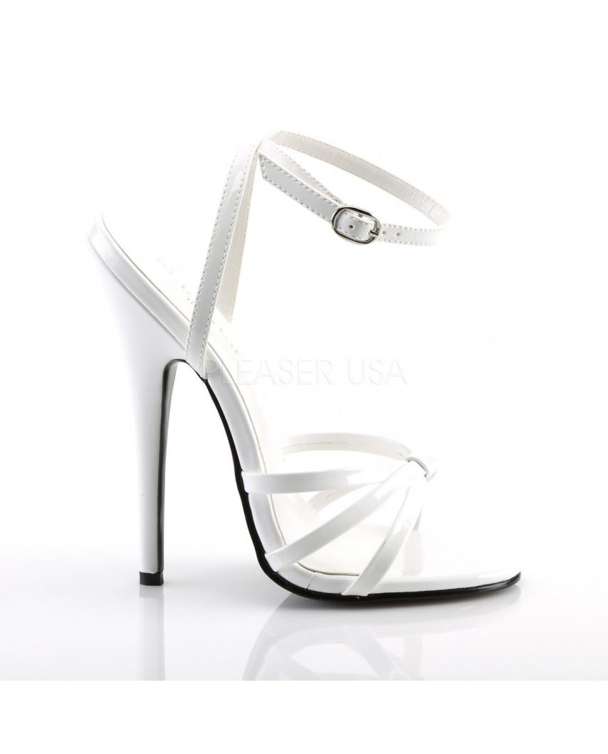 Devious — Sandales à talons extrêmes à bride Domina-108 (blanc verni)