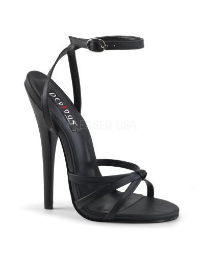Devious — Sandales à talons extrêmes à bride Domina-108 (noir mat)