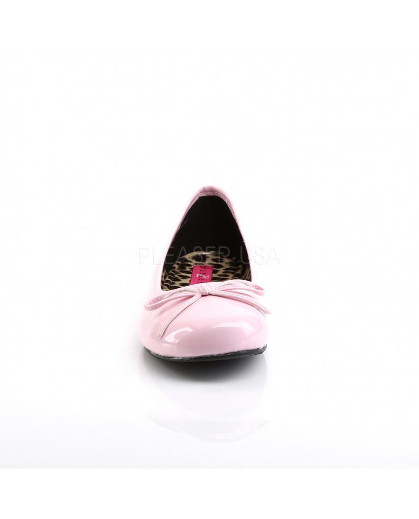 Pleaser — Ballerines classiques à nœud à bout rond Anna-01 (rose verni)