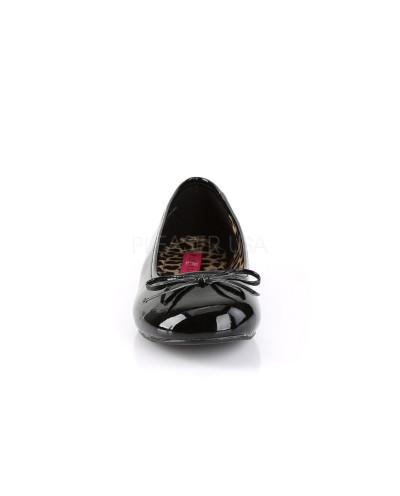 Pleaser — Ballerines classiques à nœud à bout rond Anna-01 (noir verni)