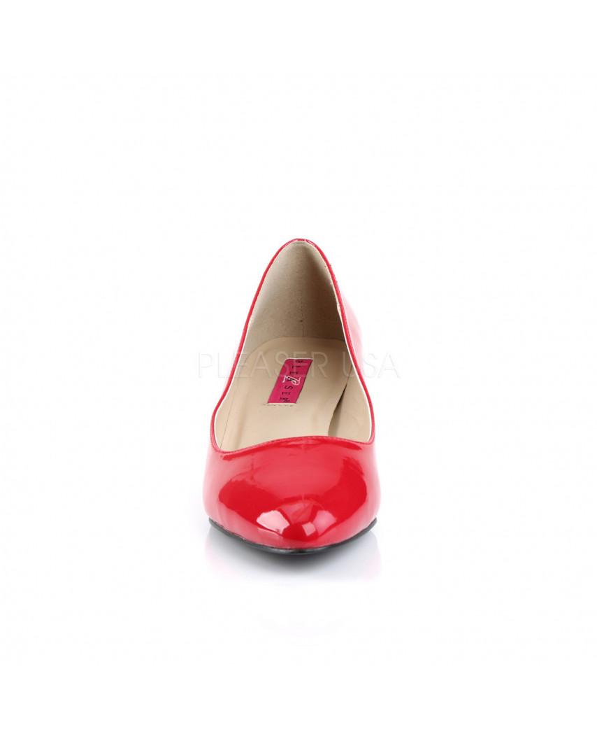 Pleaser — Escarpins classiques à petits talons Fab-420 (rouge verni)
