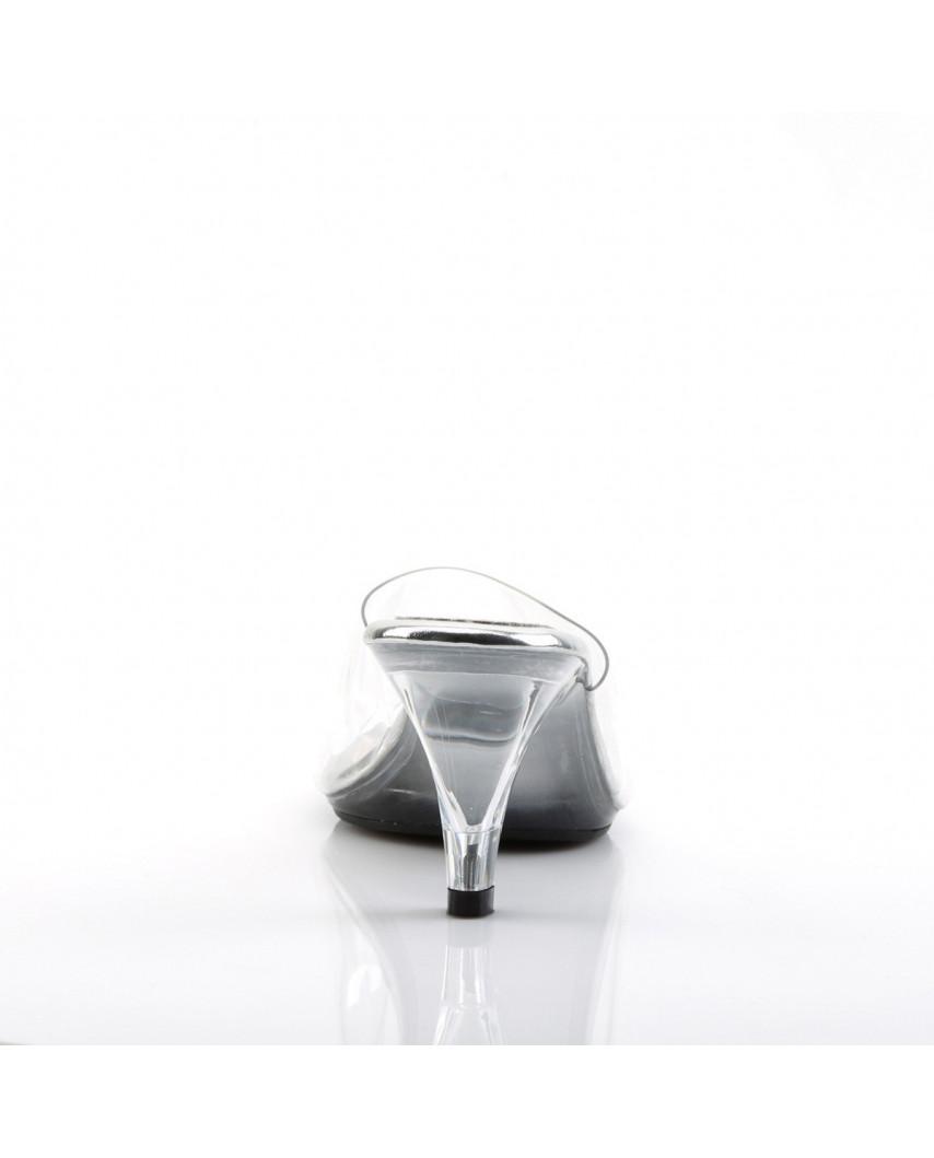 Fabulicious — Mules transparentes à petits talons Belle-301 (transparent)