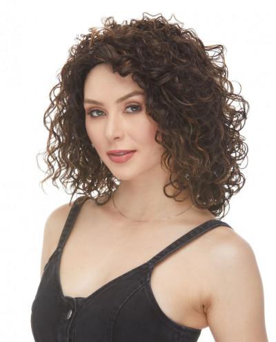 Sepia — Perruque trois-quarts synthétique aux cheveux bouclés Silvia (châtain)
