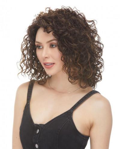 Sepia — Perruque trois-quarts synthétique aux cheveux ondulés Silvia