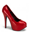 Pleaser — Escarpins coupe large à plateforme invisible Teeze-06W (rouge verni)