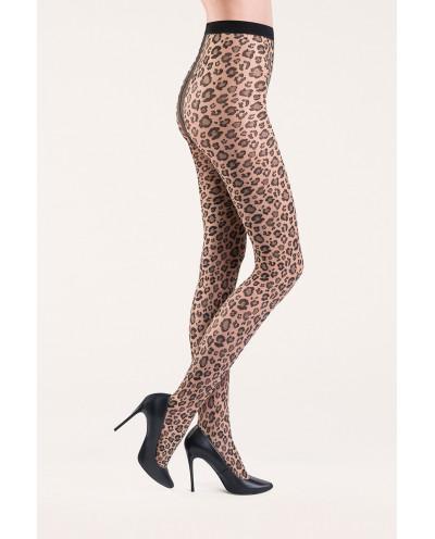Gabriella — Collants fantaisie à motif léopard Caty