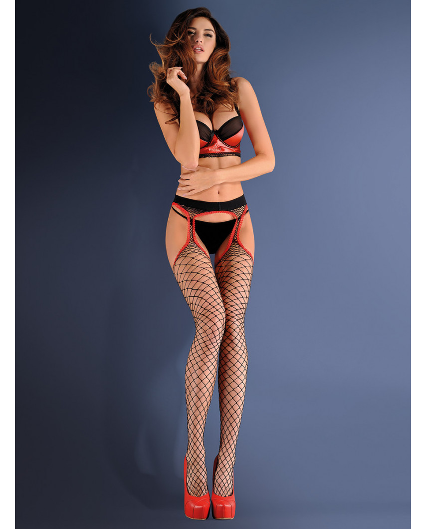 Gabriella — Collants porte-jarretelle à résille large Strip Panty 153