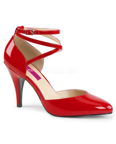 Pleaser — Escarpins d'Orsay à lanières croisées Dream-408 (rouge verni)