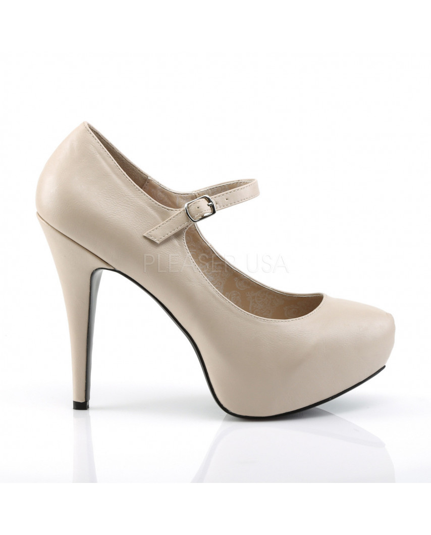 Pleaser — Escarpins Mary Jane à bride Chloe-02 (crème mat)
