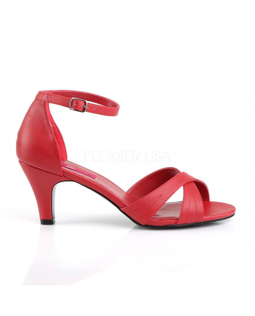 Pleaser — Sandales à lanières croisées et à bride Divine-435 (rouge mat)