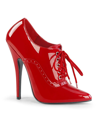 Devious — Bottines Richelieu à talons extrêmes Domina-460 (rouge verni)