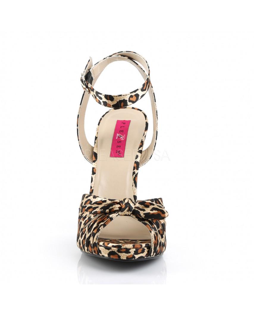Pleaser — Sandales à bride décorées de nœuds Eve-01 (imitation léopard)