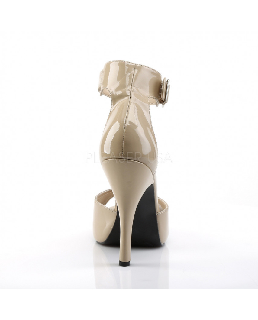 Pleaser — Sandales à brides à talons aiguilles Eve-02 (crème verni)