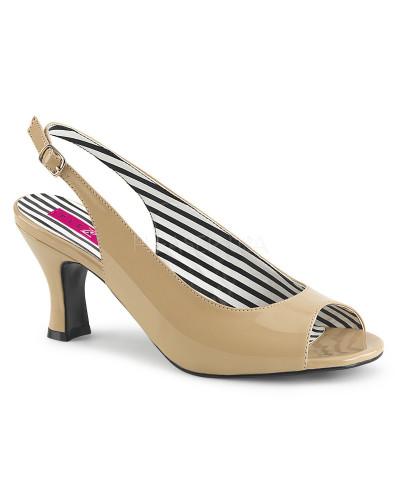 Pleaser — Sandales peep toes à bride arrière Jenna-02 (crème verni)