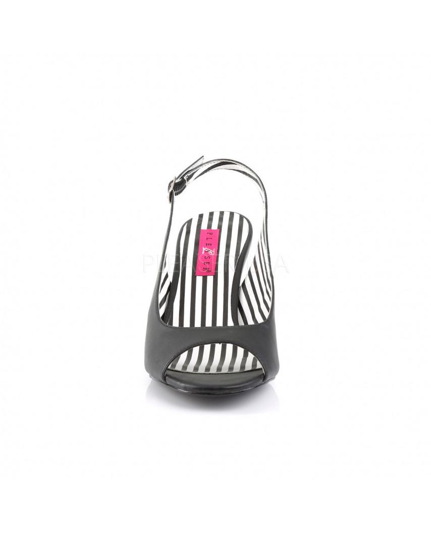Pleaser — Sandales peep toes à bride arrière Jenna-02 (noir mat)
