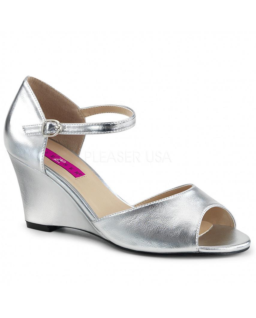 Pleaser — Sandales peep toes et compensées à bride Kimberly-05 (argenté)
