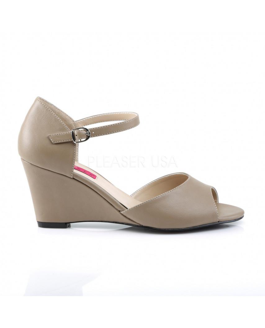Pleaser — Sandales peep toes et compensées à bride Kimberly-05 (taupe mat)