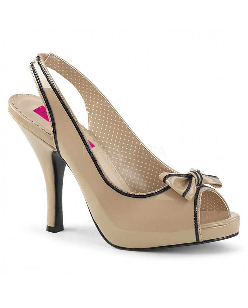 Pleaser — Sandales peep toes rétro à bride arrière Pinup-10 (crème verni)