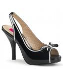 Pleaser — Sandales peep toes rétro à bride arrière Pinup-10 (noir verni)