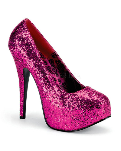Pleaser — Escarpins coupe large à plateforme Teeze-06GW (sequins roses)