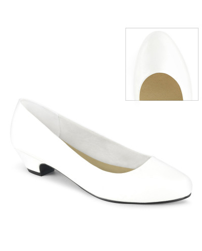 Pleaser — Ballerines classiques à petits talons épais Gwen-01 (blanc mat)