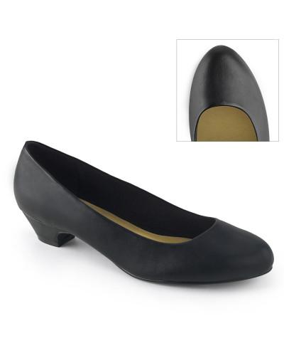 Pleaser — Ballerines classiques à petits talons épais Gwen-01 (noir mat)