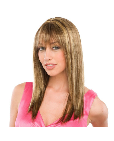 Sepia — Perruque synthétique longue aux cheveux lisses Jewel (châtain)