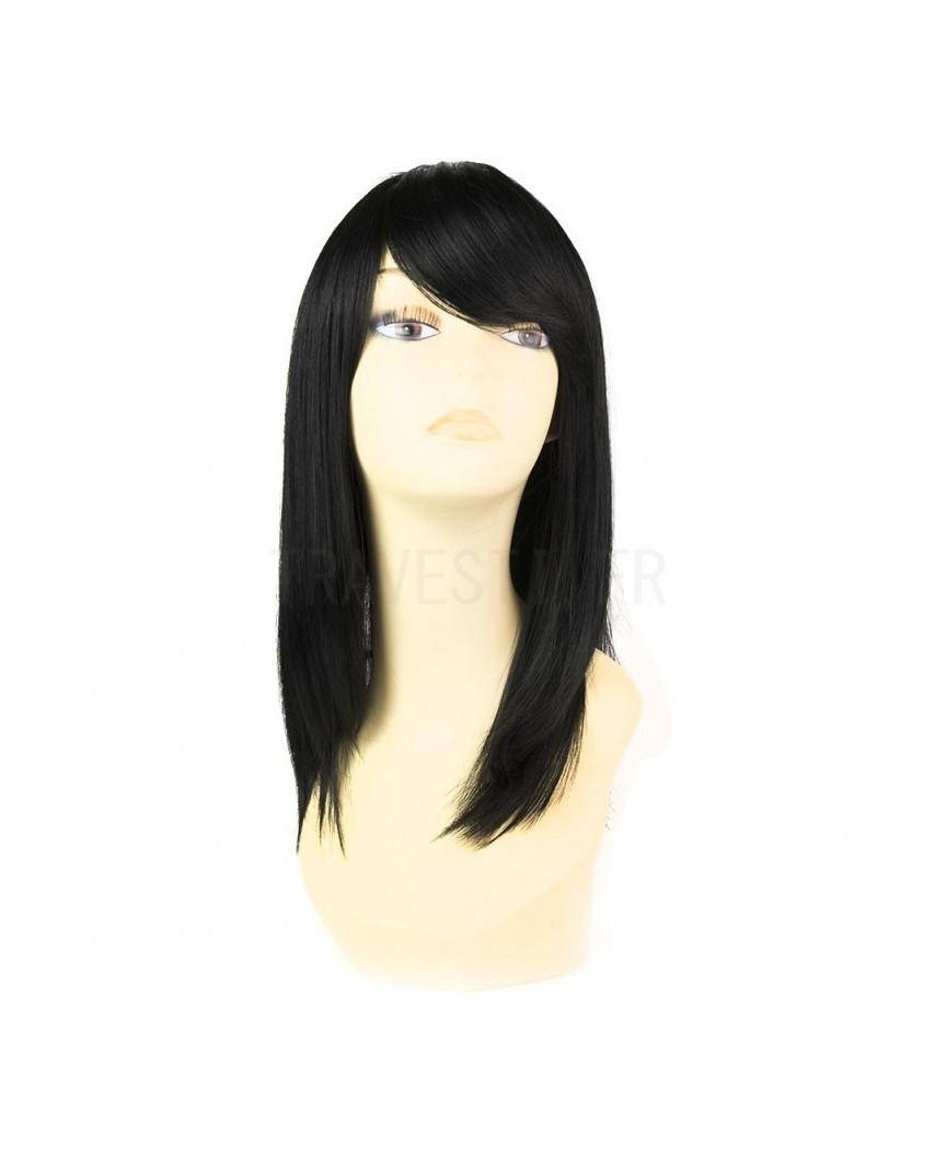 Sepia — Perruque synthétique mi-longue à frange Missy (noir)