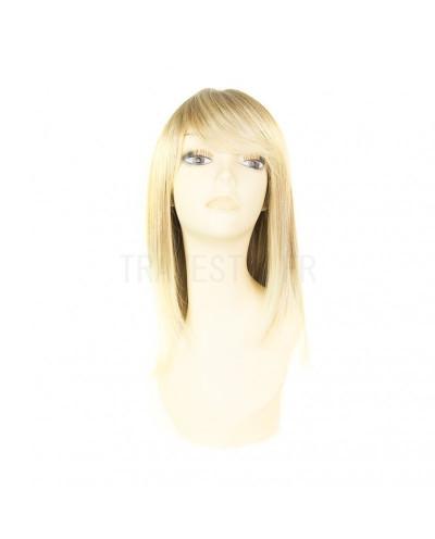 Sepia — Perruque synthétique mi-longue à frange Missy (blond platine)