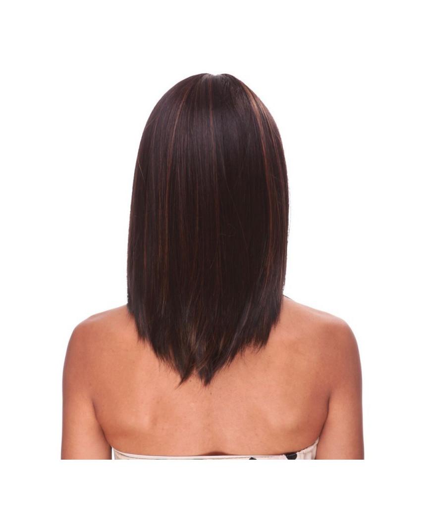 Sepia — Perruque synthétique mi-longue à frange Missy (brun foncé)