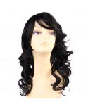 Sepia — Perruque synthétique mi-longue aux cheveux bouclés Bliss (noir)